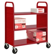 "Sandusky® 46""H x 39""W x 19""D Steel Flat Book Truck, 3 Shelf, Red"