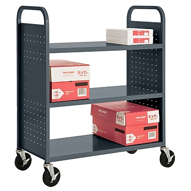 Sandusky® 46in.H x 39in.W x 19in.D Steel Flat Book Truck, 3 Shelf, Charcoal