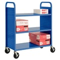 Sandusky® 46in.H x 39in.W x 19in.D Steel Flat Book Truck, 3 Shelf, Blue