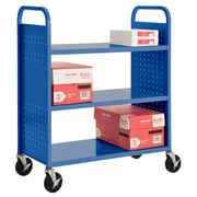 "Sandusky® 46""H x 39""W x 19""D Steel Flat Book Truck, 3 Shelf, Blue"