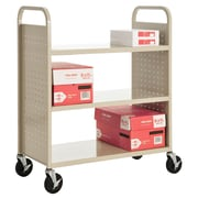 "Sandusky® 46""H x 39""W x 19""D Steel Flat Book Truck, 3 Shelf, Putty"