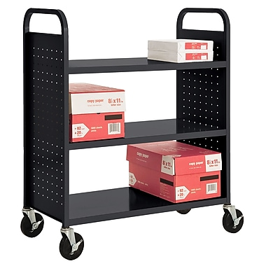 Sandusky® 46in.H x 39in.W x 19in.D Steel Flat Book Truck, 3 Shelf, Black