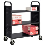 "Sandusky® 46""H x 39""W x 19""D Steel Flat Book Truck, 3 Shelf, Black"