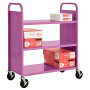 "Sandusky® 46""H x 39""W x 19""D Steel Flat Book Truck, 3 Shelf, Purple"