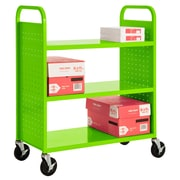 "Sandusky® 46""H x 39""W x 19""D Steel Flat Book Truck, 3 Shelf, Electric Green"