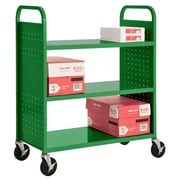 "Sandusky® 46""H x 39""W x 19""D Steel Flat Book Truck, 3 Shelf, Primary Green"