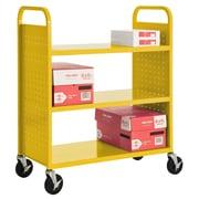 "Sandusky® 46""H x 39""W x 19""D Steel Flat Book Truck, 3 Shelf, Yellow"