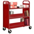 Sandusky® 46in.H x 39in.W x 19in.D Steel Flat Top and Sloped Book Truck, 5 Shelf, Red