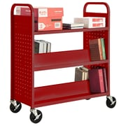 "Sandusky® 46""H x 39""W x 19""D Steel Flat Top and Sloped Book Truck, 5 Shelf, Red"