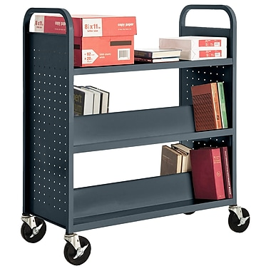 Sandusky® 46in.H x 39in.W x 19in.D Steel Flat Top and Sloped Book Truck, 5 Shelf, Charcoal
