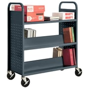 "Sandusky® 46""H x 39""W x 19""D Steel Flat Top and Sloped Book Truck, 5 Shelf, Charcoal"