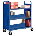 Sandusky® 46in.H x 39in.W x 19in.D Steel Flat Top and Sloped Book Truck, 5 Shelf, Blue