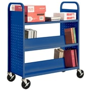 "Sandusky® 46""H x 39""W x 19""D Steel Flat Top and Sloped Book Truck, 5 Shelf, Blue"