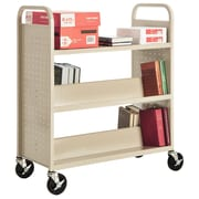 "Sandusky® 46""H x 39""W x 19""D Steel Flat Top and Sloped Book Truck, 5 Shelf, Putty"