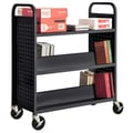 Sandusky® 46in.H x 39in.W x 19in.D Steel Flat Top and Sloped Book Truck, 5 Shelf, Black