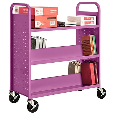 Sandusky® 46in.H x 39in.W x 19in.D Steel Flat Top and Sloped Book Truck, 5 Shelf, Purple