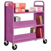 "Sandusky® 46""H x 39""W x 19""D Steel Flat Top and Sloped Book Truck, 5 Shelf, Purple"
