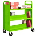 Sandusky® 46in.H x 39in.W x 19in.D Steel Flat Top and Sloped Book Truck, 5 Shelf, Electric Green