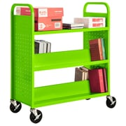 "Sandusky® 46""H x 39""W x 19""D Steel Flat Top and Sloped Book Truck, 5 Shelf, Electric Green"