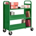 Sandusky® 46in.H x 39in.W x 19in.D Steel Flat Top and Sloped Book Truck, 5 Shelf, Primary Green
