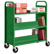 "Sandusky® 46""H x 39""W x 19""D Steel Flat Top and Sloped Book Truck, 5 Shelf, Primary Green"