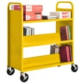 Sandusky® 46in.H x 39in.W x 19in.D Steel Flat Top and Sloped Book Truck, 5 Shelf, Yellow