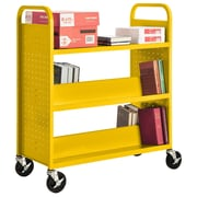 "Sandusky® 46""H x 39""W x 19""D Steel Flat Top and Sloped Book Truck, 5 Shelf, Yellow"