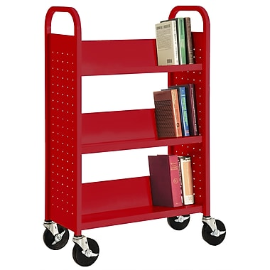 Sandusky® 46in.H x 28in.W x 14in.D Steel Single Sided Sloped Book Truck, 3 Shelf, Red