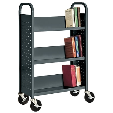 Sandusky® 46in.H x 28in.W x 14in.D Steel Single Sided Sloped Book Truck, 3 Shelf, Charcoal