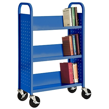 Sandusky® 46in.H x 28in.W x 14in.D Steel Single Sided Sloped Book Truck, 3 Shelf, Blue