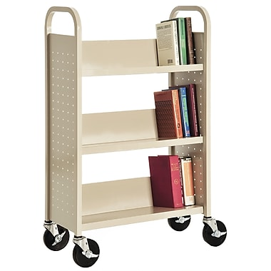 Sandusky® 46in.H x 28in.W x 14in.D Steel Single Sided Sloped Book Truck, 3 Shelf, Putty