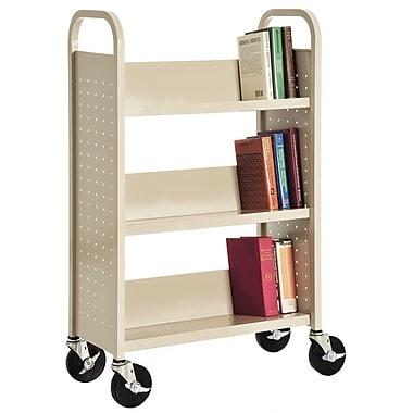 Sandusky® 46in.H x 28in.W x 14in.D Steel Single Sided Sloped Book Truck, 3 Shelf, Putty