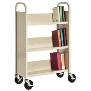 "Sandusky® 46""H x 28""W x 14""D Steel Single Sided Sloped Book Truck, 3 Shelf, Putty"