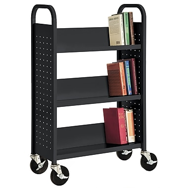 Sandusky® 46in.H x 28in.W x 14in.D Steel Single Sided Sloped Book Truck, 3 Shelf, Black