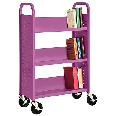 Sandusky® 46in.H x 32in.W x 14in.D Steel Single Sided Sloped Book Truck, 3 Shelf, Purple