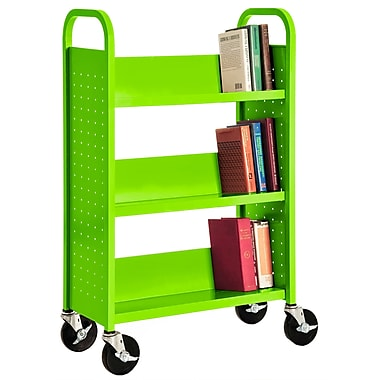 Sandusky® 46in.H x 28in.W x 14in.D Steel Single Sided Sloped Book Truck, 3 Shelf, Electric Green