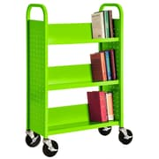 "Sandusky® 46""H x 32""W x 14""D Steel Single Sided Sloped Book Truck, 3 Shelf, Electric Green"