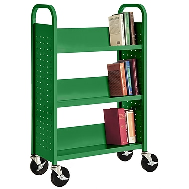 Sandusky® 46in.H x 28in.W x 14in.D Steel Single Sided Sloped Book Truck, 3 Shelf, Primary Green