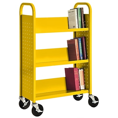 Sandusky® 46in.H x 28in.W x 14in.D Steel Single Sided Sloped Book Truck, 3 Shelf, Yellow