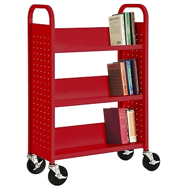 Sandusky® 46in.H x 32in.W x 14in.D Steel Single Sided Sloped Book Truck, 3 Shelf, Red