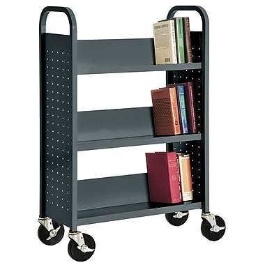 Sandusky® 46in.H x 32in.W x 14in.D Steel Single Sided Sloped Book Truck, 3 Shelf, Charcoal