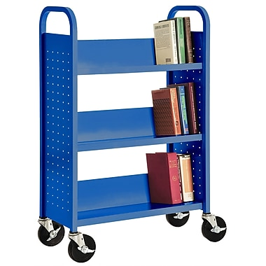 Sandusky® 46in.H x 32in.W x 14in.D Steel Single Sided Sloped Book Truck, 3 Shelf, Blue