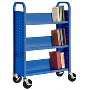 "Sandusky® 46""H x 18""W x 14""D Steel Single Sided Sloped Book Truck, 3 Shelf, Blue"