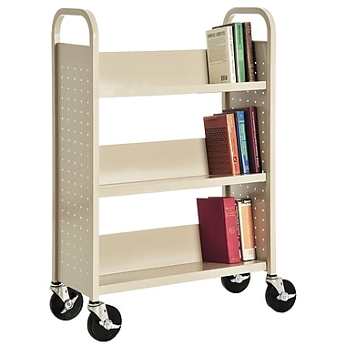Sandusky® 46in.H x 32in.W x 14in.D Steel Single Sided Sloped Book Truck, 3 Shelf, Putty