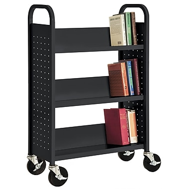 Sandusky® 46in.H x 32in.W x 14in.D Steel Single Sided Sloped Book Truck, 3 Shelf, Black
