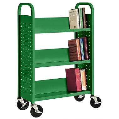 Sandusky® 46in.H x 32in.W x 14in.D Steel Single Sided Sloped Book Truck, 3 Shelf, Primary Green