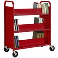 Sandusky® 46in.H x 39in.W x 19in.D Steel 6 Shelf Double Sided Sloped Book Trucks