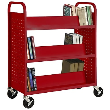 Sandusky® 46in.H x 39in.W x 19in.D Steel Double Sided Sloped Book Truck, 6 Shelf, Red