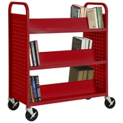 "Sandusky® 46""H x 39""W x 19""D Steel Double Sided Sloped Book Truck, 6 Shelf, Red"