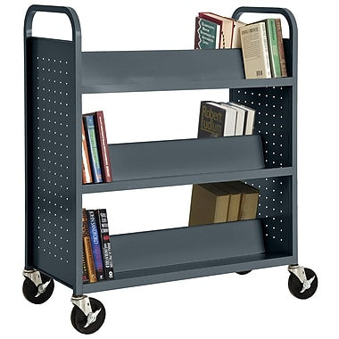 Sandusky® 46in.H x 39in.W x 19in.D Steel Double Sided Sloped Book Truck, 6 Shelf, Charcoal